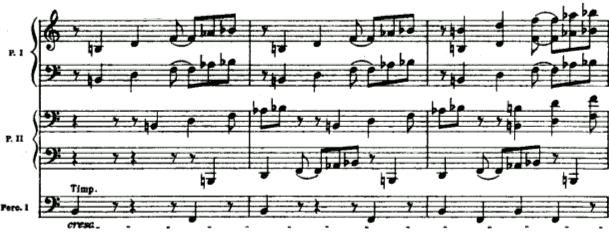 Béla Bartók, Sonata for Two Pianos and Percussion, 1st mvt, bars 26‑28